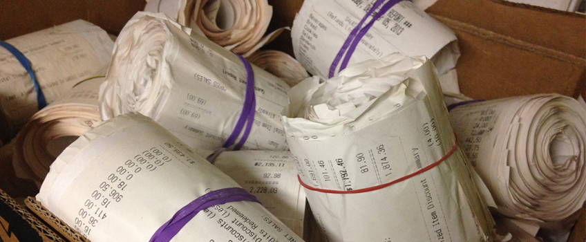 rolls of receipts